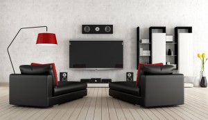 Wohnzimmer mit Multimedia-Einrichtung