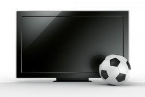 Fernseher mit Fußball